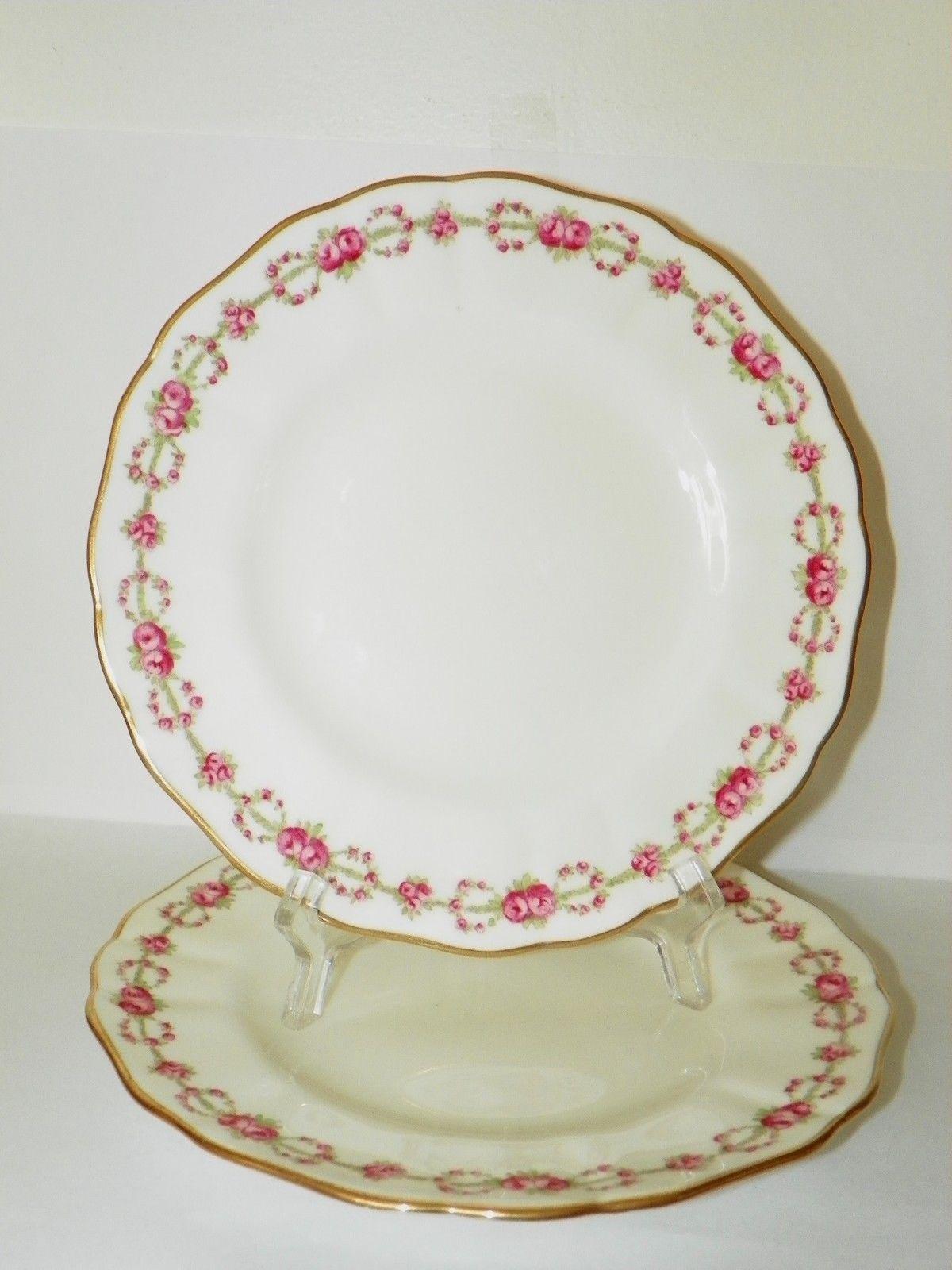 2 beautiful davis collamore co plates by cauldon roses Beautiful plates