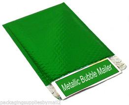 "(100) 13.75"" x 11"" Green Metallic Bubble Mailers Envelope Bags 100 Per Case - $103.00"