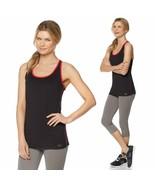 Copper Fit Racerback Stretch Knit Anti-Odor Tank Top BLACK w/ RED 538962... - $12.86