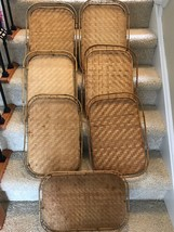 Set Of 7 Vintage Bamboo Tiki Trays Slate Bottom - $32.68