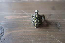 Brass Turtle Rhinestone Ring Size 6 - $17.82