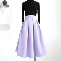 Winter Long Pleated Skirt Warm Woolen Midi Pleated Party Skirt BURGUNDY BLACK image 5