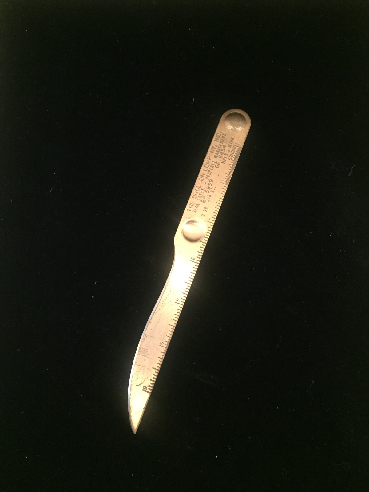 Vintage 60s brass letter opener/ruler marked The Drolson Company