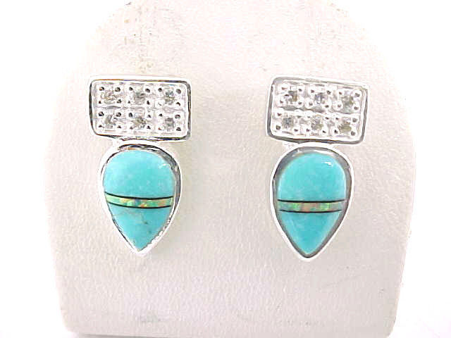 Designer ROX Sterling Silver Drop EARRINGS with TURQUOISE, Opal inlay and CZs