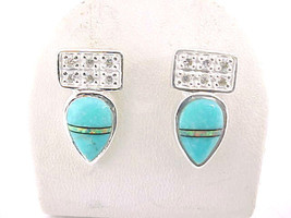 Designer ROX Sterling Silver Drop EARRINGS with TURQUOISE, Opal inlay an... - $45.00
