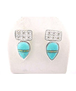Designer ROX Sterling Silver Drop EARRINGS with TURQUOISE, Opal inlay an... - €39,67 EUR