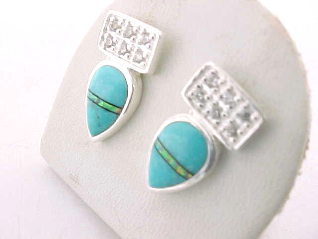 Designer ROX Sterling Silver Drop EARRINGS with TURQUOISE, Opal inlay and CZs image 2