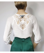 White Gauze Blouse Hippie Peasant Gypsy Bohemian Shirt Lace Prairie Top ... - $16.00