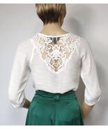 White Gauze Blouse Hippie Peasant Gypsy Bohemian Shirt Lace Prairie Top ... - $19.00