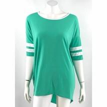 Lularoe Irma Top Size Medium Green White Hi Lo Baseball Style Shirt Womens - $29.70