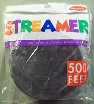"""500 FOOT BLACK CREPE PAPER PARTY STREAMER VALUE ROLL - 500' X 1.75"""" - $7.99"""