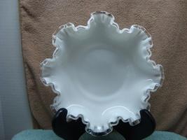 Fenton Glass white milk glass silver crest ruffled rim bon-bon candy dish. - $15.00