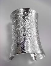 CHIC Chunky SILVER Byzantine Filigree Texture WIDE Cuff Statement Bracelet - $18.99