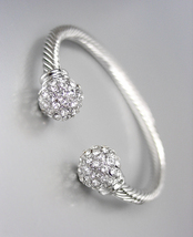 Designer Style Silver Cable Pave CZ Crystals Ball End Tips Petite Cuff Bracelet - $17.99