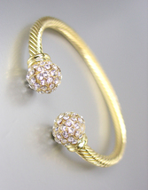 Designer Style Gold Cable Pave CZ Crystals Ball End Tips Petite Cuff Bracelet - $17.99