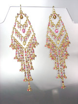EXQUISITE Pastel Pink Multi Crystals Gold Chandelier Dangle Peruvian Earrings - £16.71 GBP