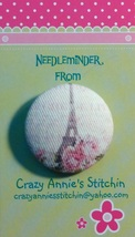 Eiffel Tower Needleminder fabric cross stitch needle accessory - $7.00