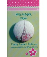 Eiffel Tower Needleminder fabric cross stitch needle accessory - $7.00