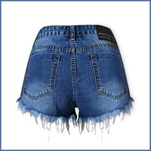 Cotton Blue Jean Denim Open Fly Hip Hot Pants Frayed Ripped Tasseled Shorts  image 6