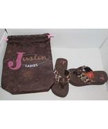 Ladies Justin Boots Western Flip Flop Sandals SZ 5 Cross Brown Beaded NEW - $35.99