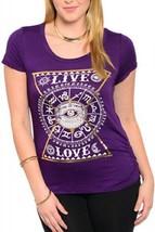 SIZE 1X Women Knit Top LIBIAN Purple Graphic Fr... - £46.07 GBP