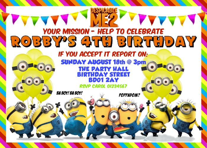Minions Printable Birthday Party Invitation And Similar Items - Minions birthday invitation images