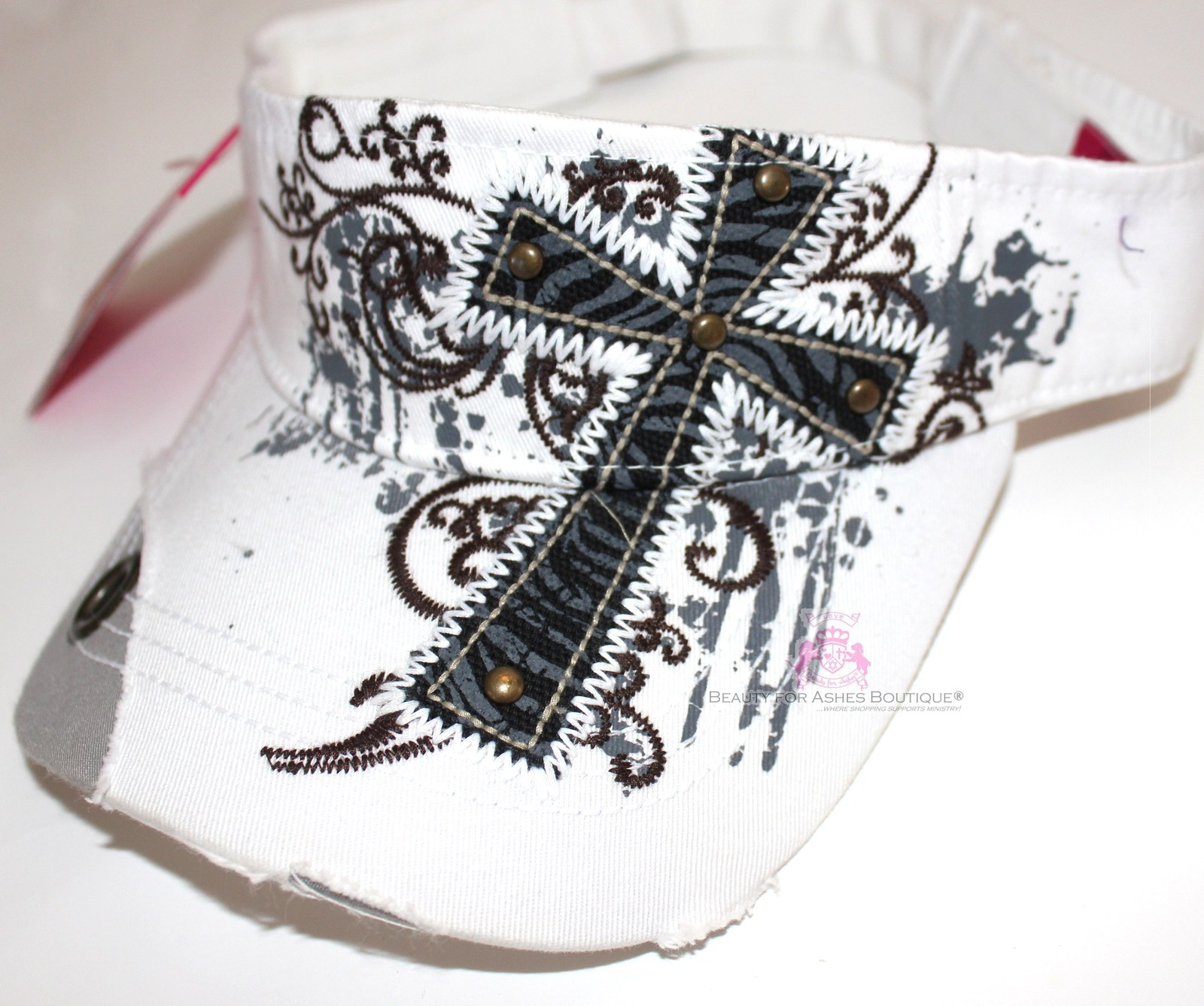 Womens Decorative Inspirational Zebra Print Cross Rhinestone Cotton Color Choice