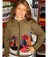 Embroidered folklorical peruvian Cardigan,Alpaca wool - $129.00