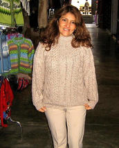 Crew Neck sweater of Alpaca wool, cable pattern  - $89.00