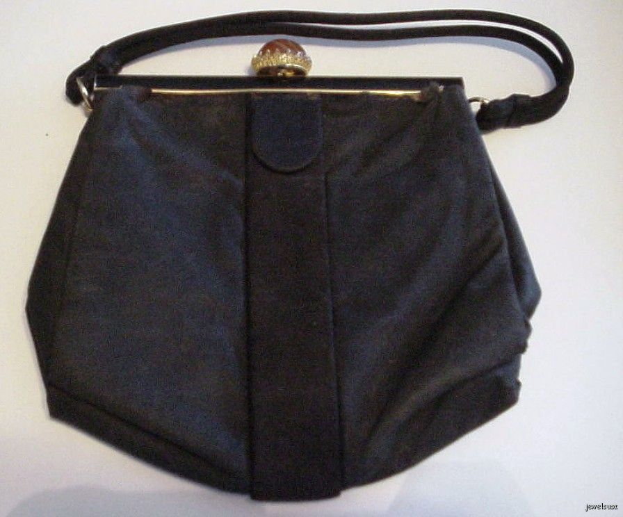 Vintage Black Fabric Koret Handbag Gold Lining 22 75