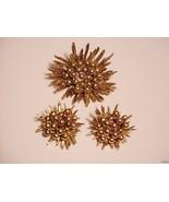 Vintage Sunburst Sunflower Beaded Goldtone Brooch Earrings Set - $19.95