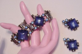 "Rhinestone Cabochon Bracelet Earrings Set 7"" Vintage - $59.95"