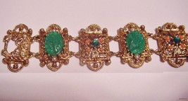 Elegant Vintage Unsigned Bracelet Art Deco Scarab Rhinestones - $59.95