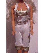 Barbie Doll Outfit Slinky Gold and White Jumpsuit - $6.95