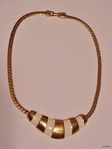 """Vintage NAPIER Choker Necklace Enamel w/ Bright Gold-tone Cap 15"""" - $22.95"""