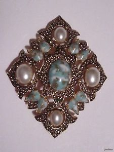 1960's BAROQUE Style SARAHCOV Brooch Pendant Faux Turquoise/Pearls