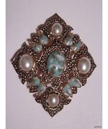 1960's BAROQUE Style SARAHCOV Brooch Pendant Faux Turquoise/Pearls - $39.55