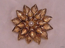 Boucher Fancy Gold Dalhia Brooch with Pearl Center Signed & Numbered - $59.95