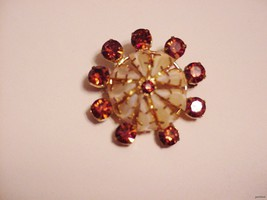 Unusual Vintage Pin Brooch Dome w/ Rhinestone Jewels Signed Austria - $34.50