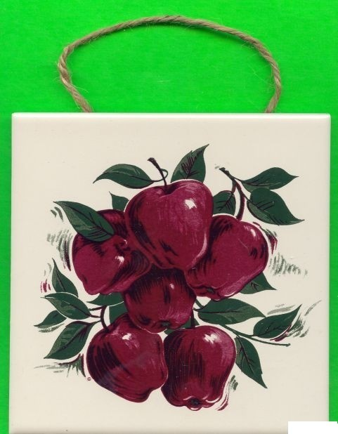 Hand-painted Tile Trivet or Wall Hanger ...APPLES