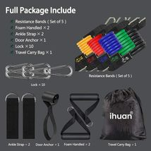 Resistance Bands Exercise Set with Door Anchor, Ankle Straps, Carry Bag & Guide image 5