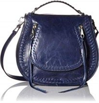 Rebecca Minkoff Large Vanity Crossbody Handbag Navy Leather New - $173.87