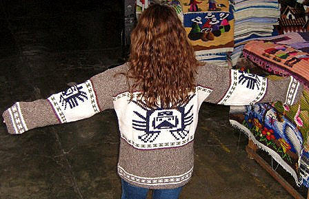 Gray Sweater, large Inka symbol, Alpacawool