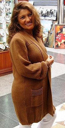 Long brown cardigan,jacket made of Babyalpaca wool