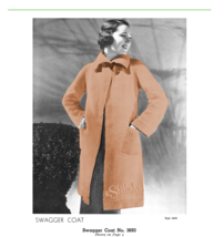 1930s Knit Swagger Sweater Coat, Knee Length, Collar - Knit pattern (PDF... - $3.75