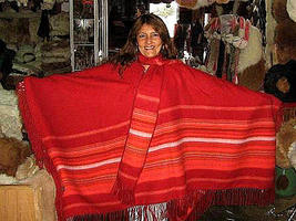 Red Poncho,outerwear made of pure Alpaca Wool  - $125.00