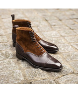 Handmade Men suede leather Boots, Men Brown Lace up boots, Formal Jean b... - $169.97
