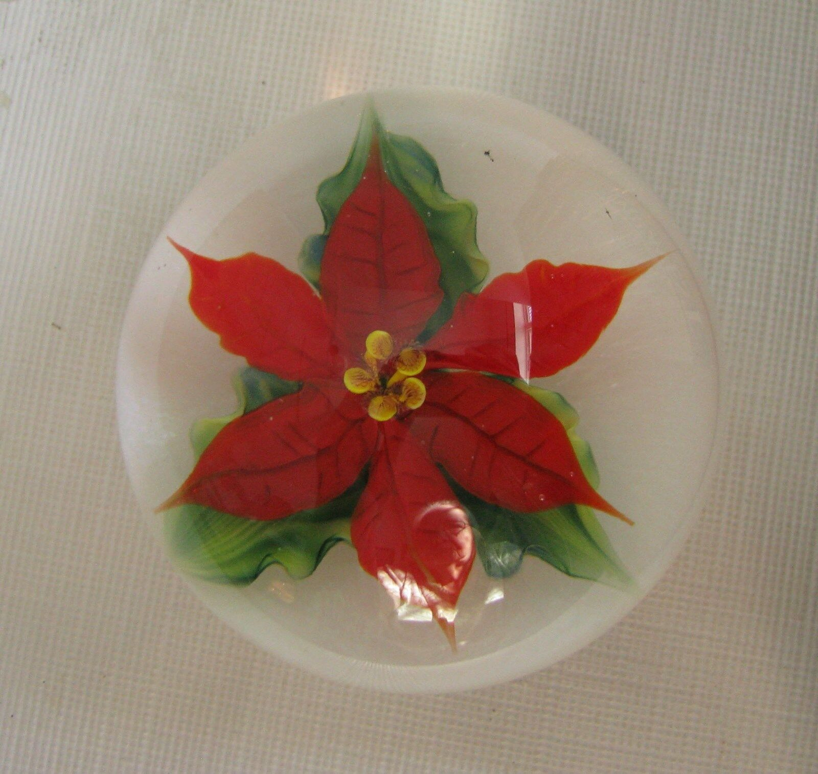 Primary image for Daniel Salazar for Lundberg Studio Glass Paperweight Rare Poinsettia Sgd Dated