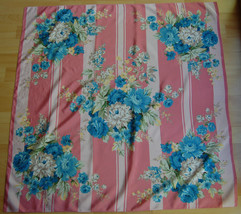 Lovely VTG Club 7 Echo Silk Square Scarf Pink Stripe Still Life Floral B... - $35.00