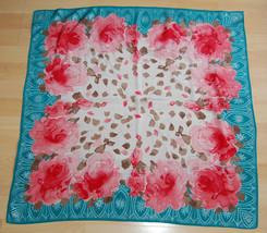 Rare VTG Mid Century Vera Neumann Silk Square Scarf Roses Petals Persian... - $50.00